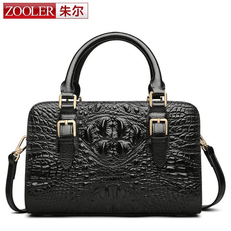 ZOOLER Women Shoulder Bags 100% Genuine Leather Messenger Bags Fashion 3D Crocodile Pattern High Quality Business Tote Handbags