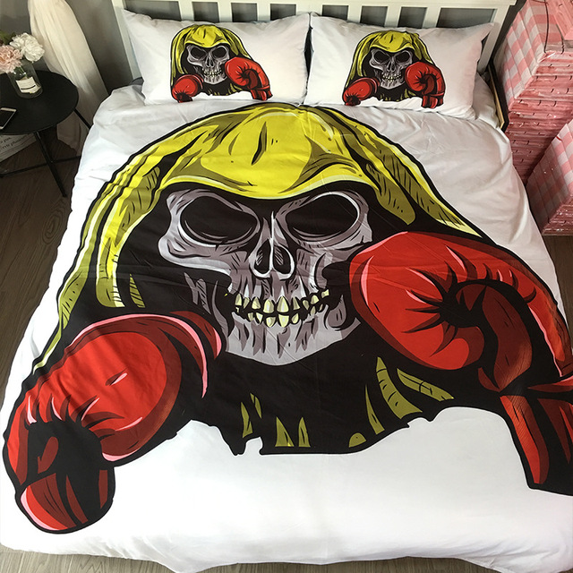 Elegant 3D Skull Bedding Set Purple Flower Duvet Cover Pillowcase Dangerous Monster  Bed Set 3 Piece