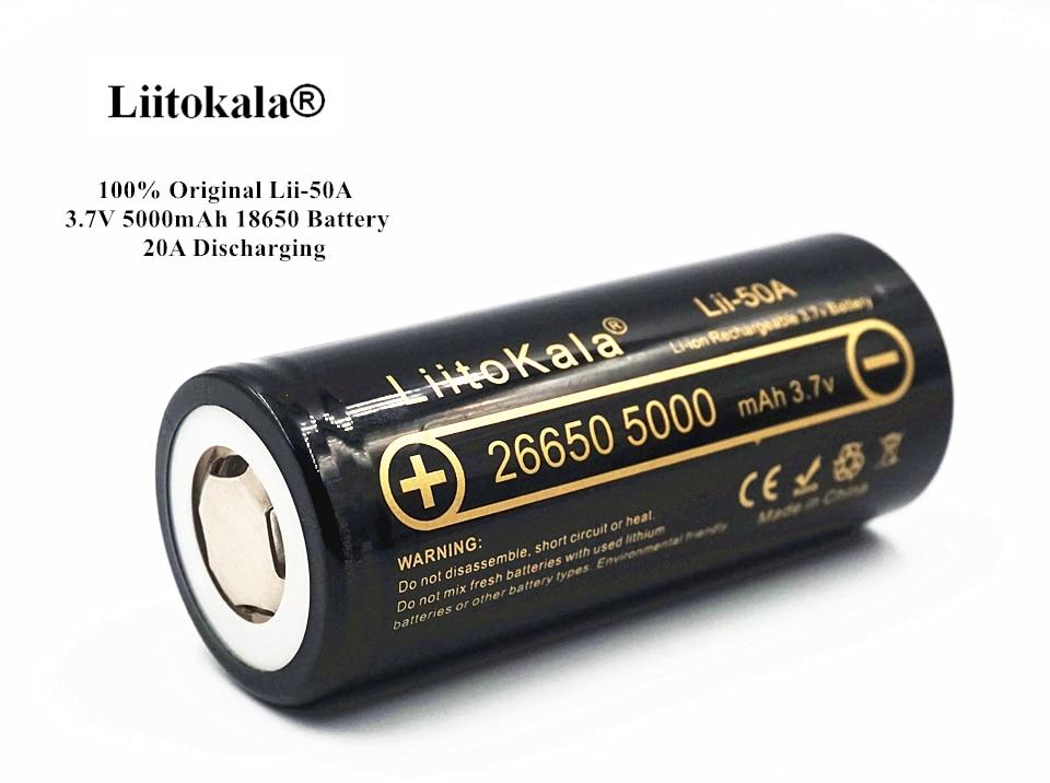 100 original liitokala lii 50a 3 7v 5000 mah 26650 battery inr 26650 20a rechargeable batteries. Black Bedroom Furniture Sets. Home Design Ideas