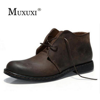 2017 Spring Autumn Genuine Leather Men Work Boots Mens Fashion Model Causal Outdoor Boots Snow Boots