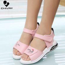 Chivry New 2019 Summer Girls Sandals Fashion Soft Anti-slip Princess Girls Shoes Children Kids Baby Beach Flat Sandals Shoes printio детская футболка классическая унисекс попай popeye