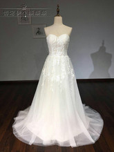 A line White Ivory font b Wedding b font Dress Illusion Bodice Simple Tulle Cheap Plus