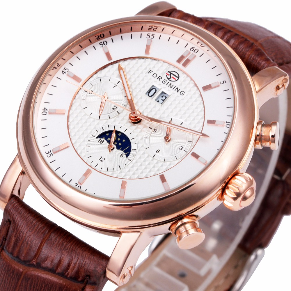 WINNER Men Watches Fashion Automatic Mechanical Wristwatch Genuine Leather Strap Imported Movement Multi-function Calendar все цены