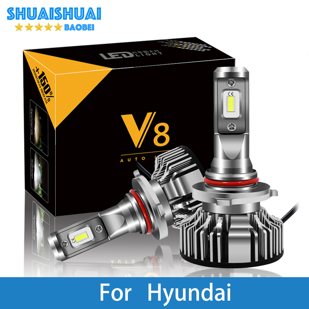 2 Pcs Car Headlight for Hyundai Creta/IX35/Tucson/Solaris/Santa Fe/Accent/Azera/Lantra H7 H4 <font><b>LED</b></font> H1 H7 <font><b>H3</b></font> 8000LM CSP Light Bulb image
