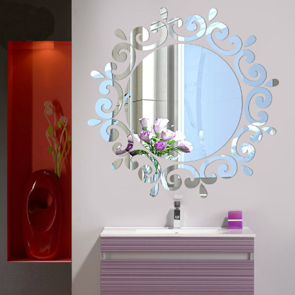 Creative 3D Acrylic Mirror Surface Wall Sticker Fashion DIY Abstract Sun Room Tile Decoration Gold Silver Removable Decal