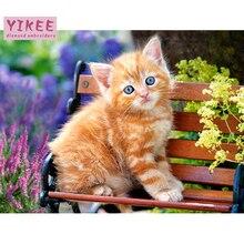 Алмаз живопись квадрат полный Алмаз кошка,стразы, вышивка