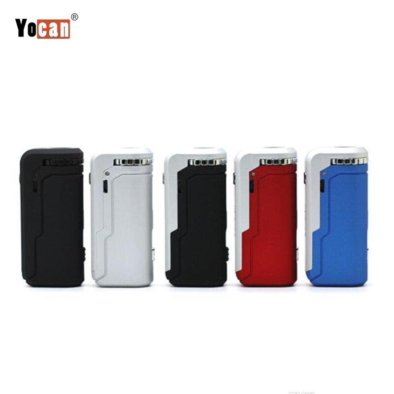Original Yocan Vape Uni boîte Mod 650mAh batterie largeur réglable magnétique 510 fil adaptateur pour V9 toutes les cartouches d'huile CBD épaisses