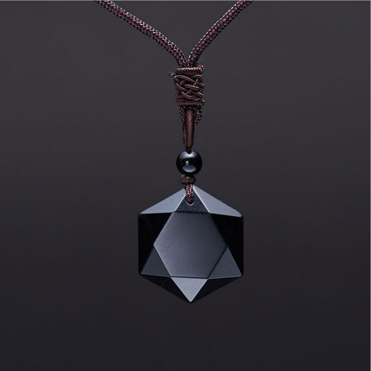Drop verschiffen Schwarz Obsidian anhänger halskette obsidian stern von anhänger Glück Liebe Kristall Schmuck Mit Kostenloser Seil geschnitzt obsidian