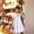 Japonês zíper da menina lindo vestido com malha e impresso pequeno coração envelope vestido irmã macio simples e doce vestido de verão