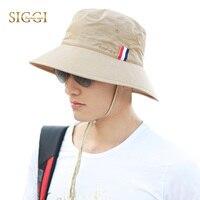 Katlama SIGGI Unisex Pamuk Kepçe Boonie Şapka Cap Çene Kayışı Erkekler Packable Nefes UPF UV 50 + Balıkçılık Yürüyüş 68047