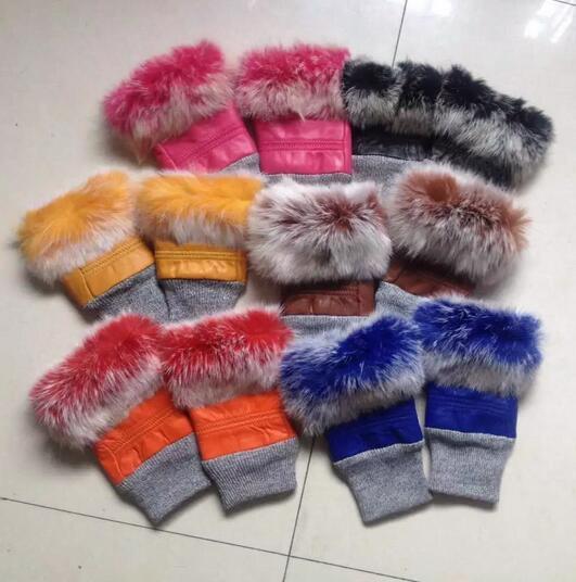 Winter Warm Women Genuine Leather Gloves Real Rabbit Fur Fingerless Gloves Women Female AG-36