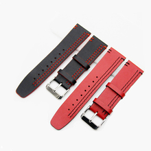 22mm 24mm Genuine Cowhide Leather High Quality Watch Strap Stitching Wristband With Stainless Steel Watch Band #B все цены