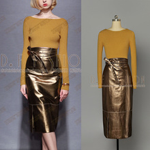 2016 Full New Arrival Winter New Europe Collar Long Sleeved Sweater + Primer All-match Slim Leather Skirt Suit Women Two Pieces