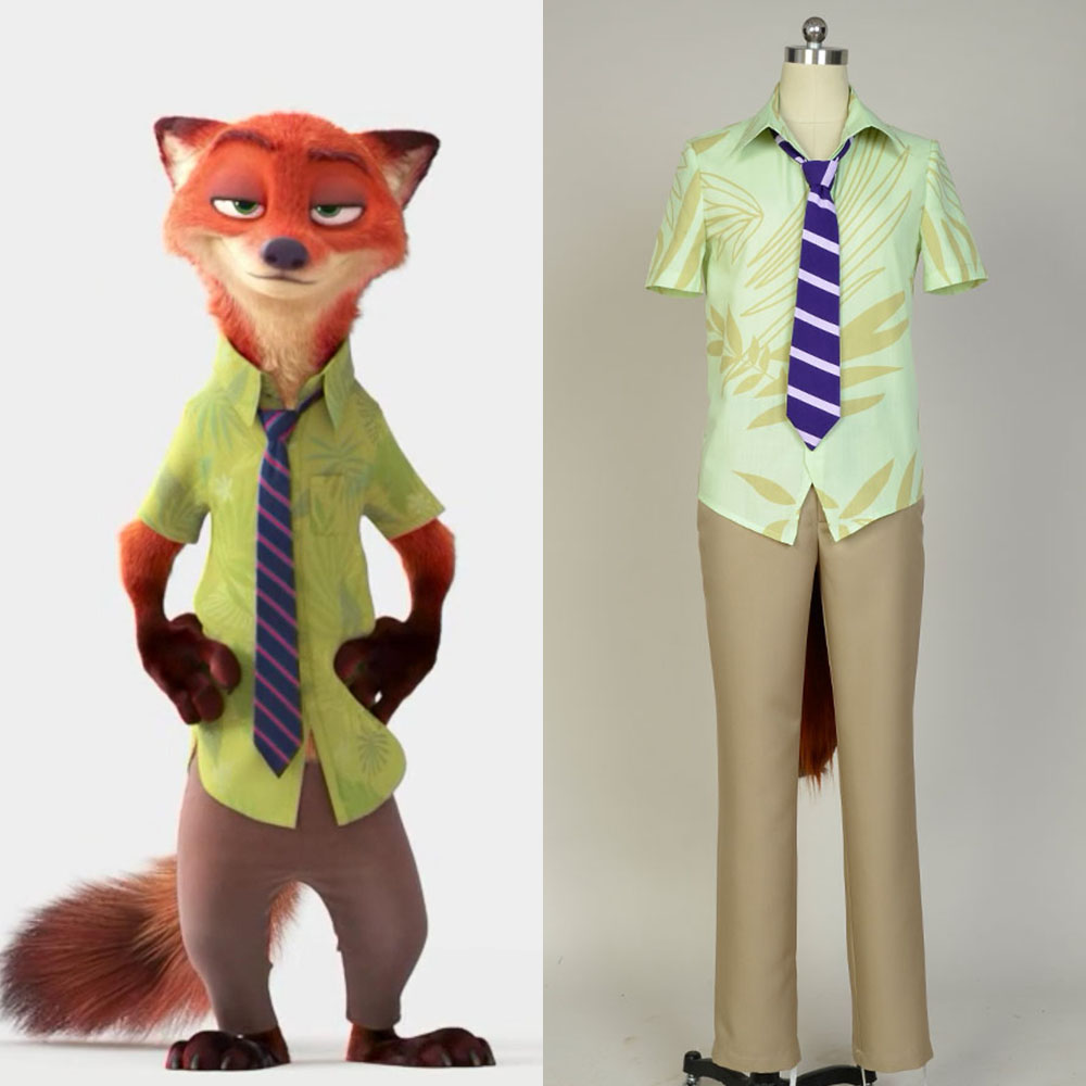 Fox Nick Wilde Costume ZOOTOPIA Movie Judy Hopps Halloween Party Club Cosplay Costume For Men