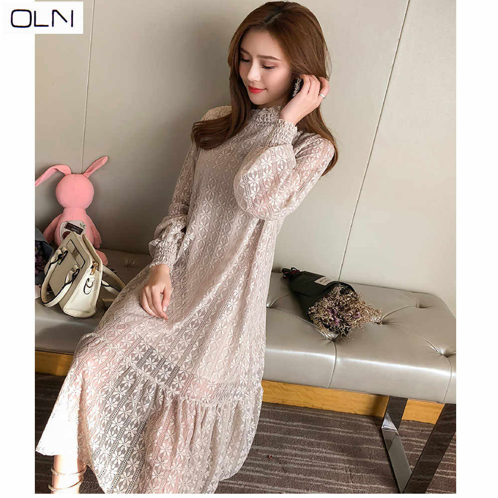 3d96bee7a279e Lace dress women's 2019 spring new style temperament elegant and  comfortable Korean version of the gentle wind loose long-sleeve