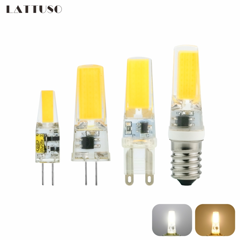 LATTUSO LED Lamp G4 G9 E14 AC / DC 12V 220V 3W 6W 9W COB LED G4 G9 Bulb Dimmable For Crystal Chandelier Lights