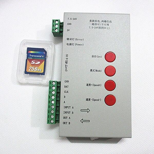 T1000S Carte SD LED Pixel RVB Contrôleur Pour LED Bande Lumière WS2812B LPD8806 6803 WS2811 WS2801 5-24 V