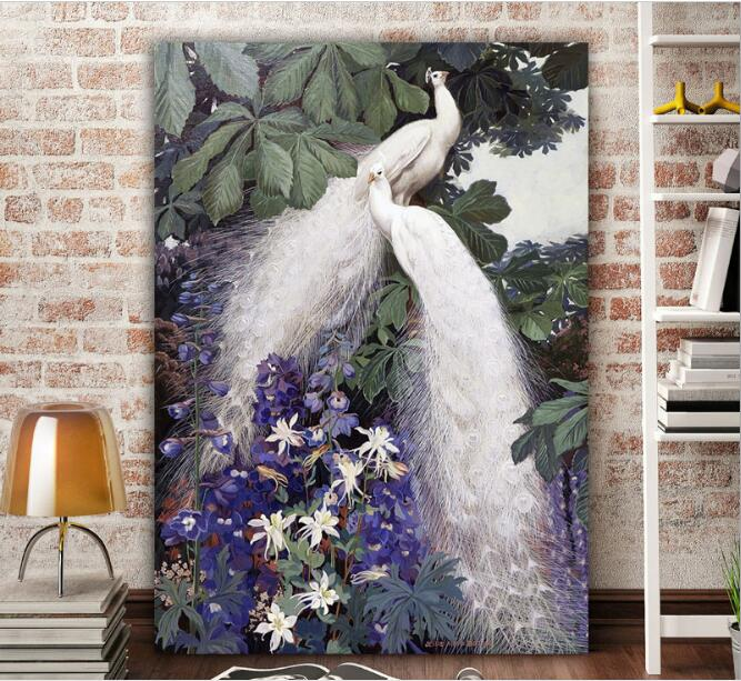 Needlework,DMC Cross Stitch Full Embroidery Kit,forest Lucky Love Bird Peacock Print Pattern Cross-Stitch Handwork Painting Gift