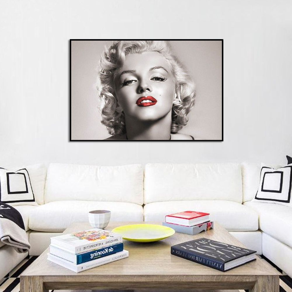 Canvas Painting Portrait Marilyn Monroe Wall Decor Posters And Prints Wall Pictures For Living Room Wall Art Decoration in Painting Calligraphy from Home Garden