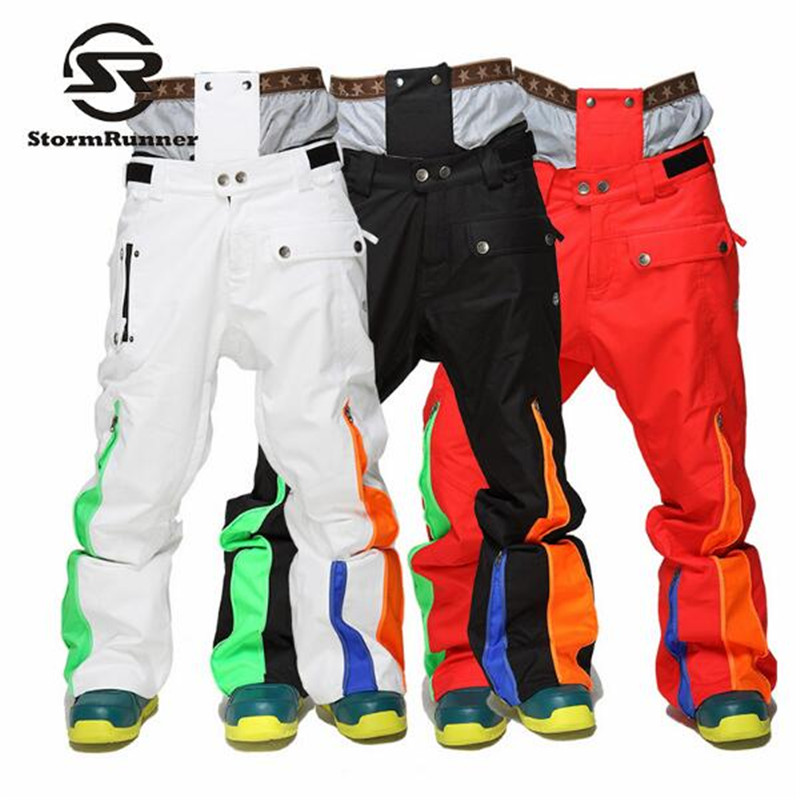 StormRunner 2018 Winter New Style Men Snow Pants Winter Sport Pants For Men Snow Ski Colorful High Quality Pants Free Shipping 2017 tide brand off white winter new men s wear striped rose embroidery denim pants men jeans jogger pants high quality