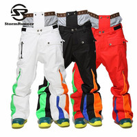 StormRunner 2018 Winter New Style Men Snow Pants Winter Sport Pants For Men Snow Ski Colorful High Quality Pants Free Shipping