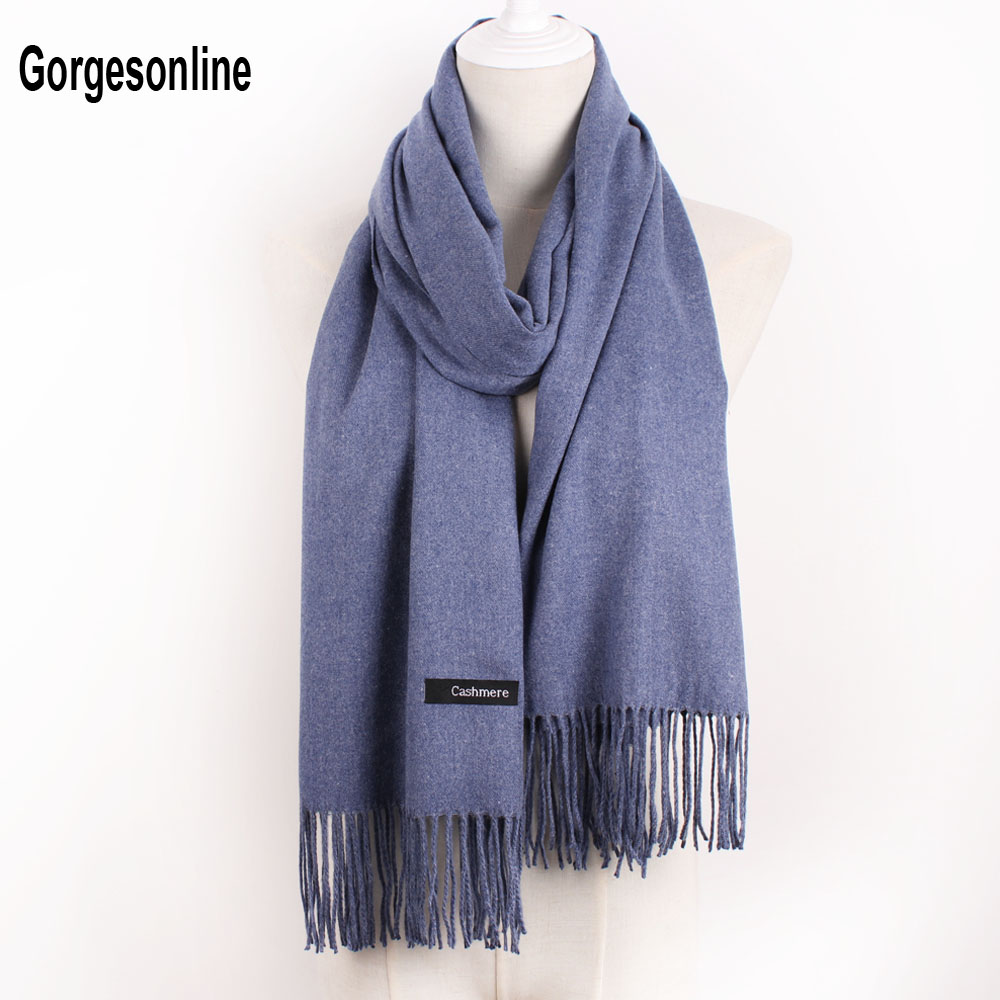 Hot selling Women Girl solid plain color keep warm pashmina shawl cashmere scarf with tassels