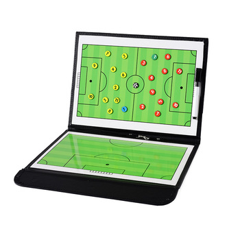 Foldable Magnetic Leather Football Tactic Board Football Soccer Coaching Board Soccer Trainer Training Match Tactical Plate Book foldable magnetic tactic board soccer coaching coach tactical board football game portable football training tactics clipboard