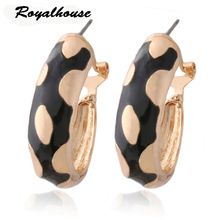 Royalhouse Fluorescent black Earring ring wholesale Printed Colorful Four-leaf clover Brinco Printing Oorbellen jewelry