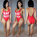 2017 Summer Women Jumpsuit Bodycon Red Swimsuit Sexy Backless Letter Printing Sleeveless Tight Rompers combinaison femme