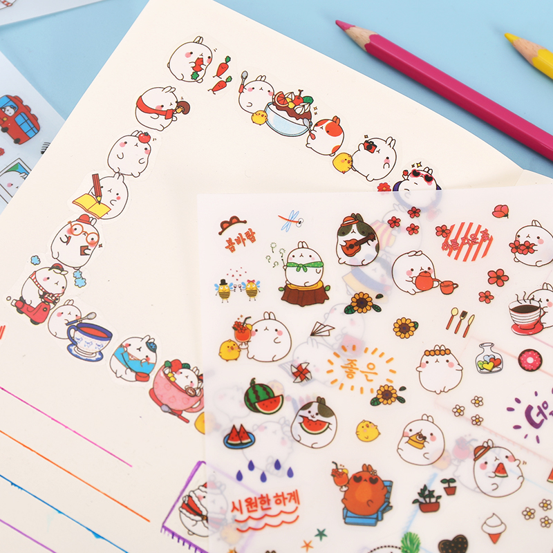 6 Pcs/Set Cute Molang Rabbit Cartoon Animals Sticker Pvc Cartoon Stickers Diary Sticker Scrapbook Decoration Stationery Stickers цена и фото