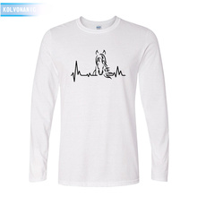 KOLVONANIG 2019 Fall Style Heartbeat Of Horse Printed Mens T Shirt O-Neck Long Sleeve Cotton Man T-Shirts Hip Hop Men Patchwork