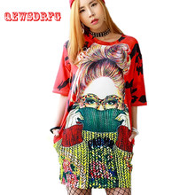 Women Summer Dress 2019 New Fashion Cartoon Print Street Style Vestidos Casual Loose Slim Ladies Cute Plus Size Dress(China)