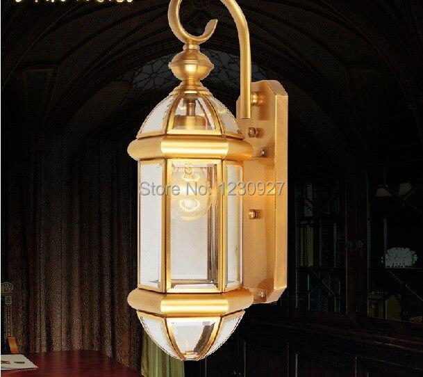 3 Вт светодиодный настенный Американский свет садовые фонари Уличные Фонари балконные огни все открытые медные лампы Настенный светильник