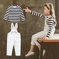 Conjunto de ropa para niñas adolescentes otoño 2019 nuevo niño ropa de manga larga a rayas camiseta + monos Conjunto Menina 12