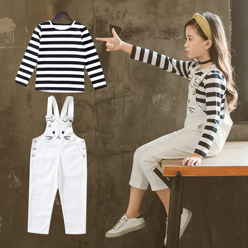 Teenage Girls Clothing Set Autumn 2018 New Child Toddler Kids Clothes Long Sleeve Striped T Shirt + Jumpsuits Conjunto Menina 12 стоимость