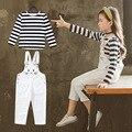 Teenager Mädchen Kleidung Set Herbst 2019 Neue Kind Kleinkind Kinder Kleidung Long Sleeve Striped T-shirt + Overalls Conjunto Menina 12