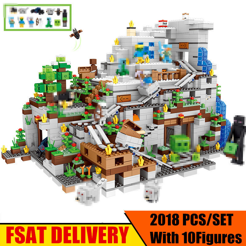 NEW The Mountain cave fit legoings minecrafted Figures city model Building Blocks Bricks Kits Toy Children Gift kid fit 21137