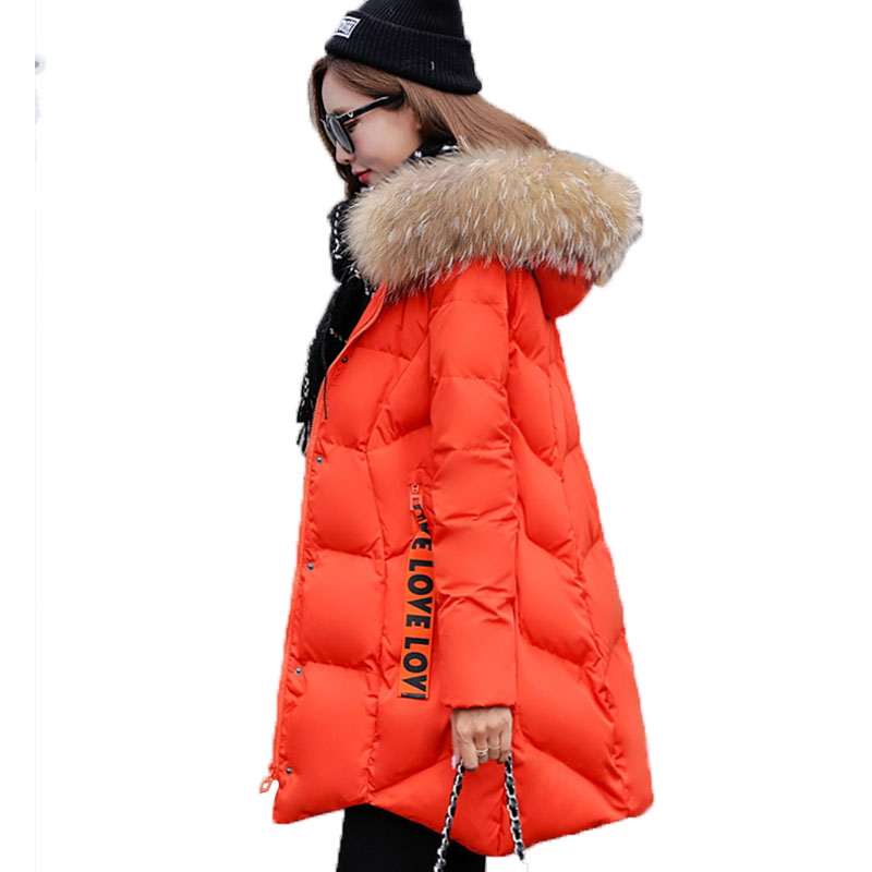 New Winter Jacket Coat Women Big Fur Collar Hooded Cotton-Padded Jacket Parka Thickened Warm Down Cotton Outerwear Plus Size W40 yi la 2017 new winter fur collar hooded down cotton coat fashion women s long coat cotton warm jacket parka plus size 3xl s869