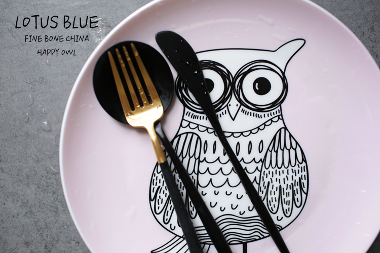8 Inch bone china dishes plates tableware cartoon owl decorative plates kitchen dining dish dinner fruit steak pasta cake plate-in Dishes u0026 Plates from Home ... & 8 Inch bone china dishes plates tableware cartoon owl decorative ...
