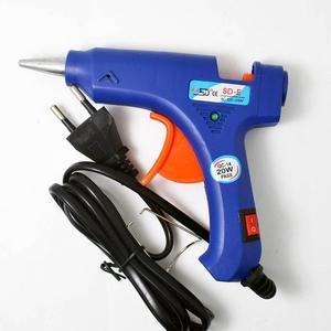 NEW 100-220V High Temp Heater Melt Hot Glue Gun 20W Repair Tool Heat Gun Blue Mini Gun With Trigger US/EU plug(China)