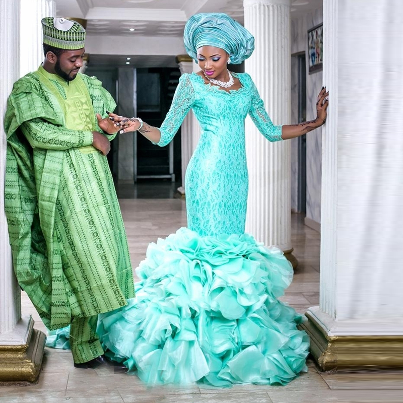 Elegant Green Mint Wedding Dress Aqua Nigeria Style Bridal Dresses ...