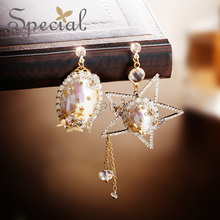 special European and American s925 silver-pin earrings, white-collar, ear-pin, female, asymmetrical ear-clamp
