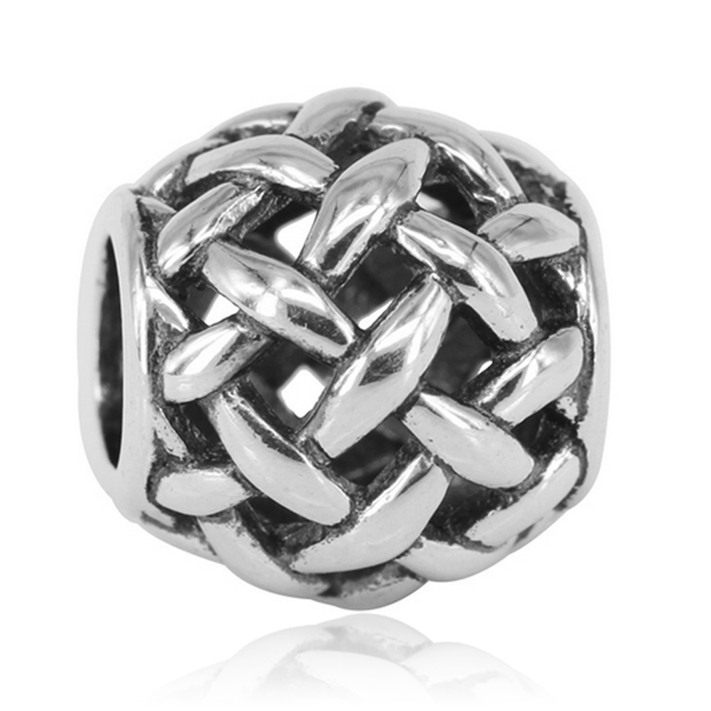 Aliexpress Hot Sale Silver Plated Braid Metal European Large Hole Bead Charms Fit For Pandora Style Bracelets
