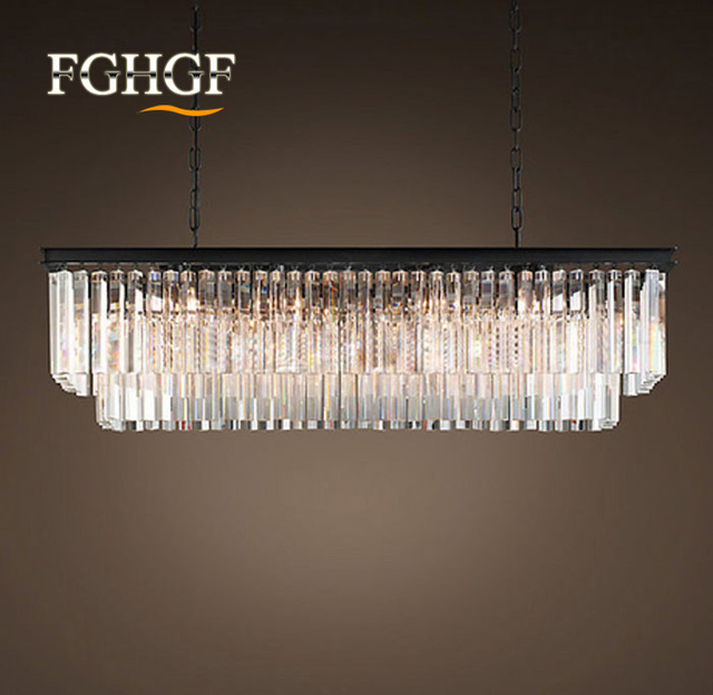 Modern Crystal Chandelier Light Res Rectangle Chandeliers Lamp Clear Fixture Vintage Style Hanging For Dinning