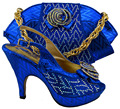 Free shipping Italian design woman matching shoe and bag set Dinner party,MM1003 nigeria blue high quality for wholesale price