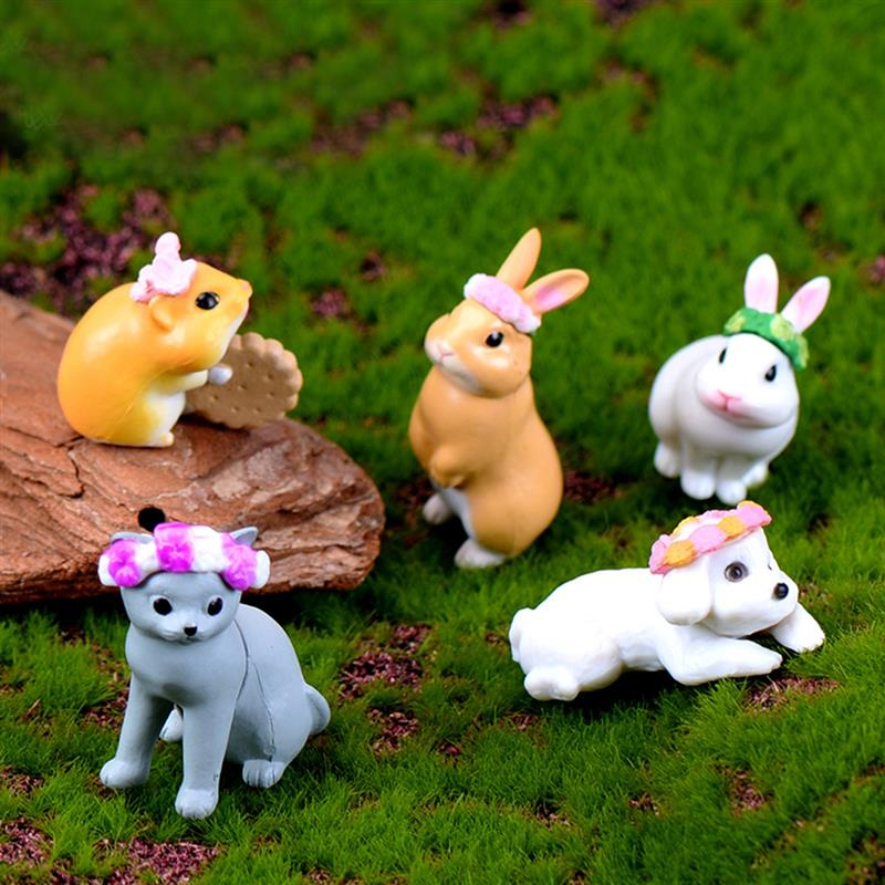 New 5pcs/Set Wreath Rabbit Animal Miniatura Dollhouse Home Garden Decoration Mini Toy Miniature Resin Craft Ornaments