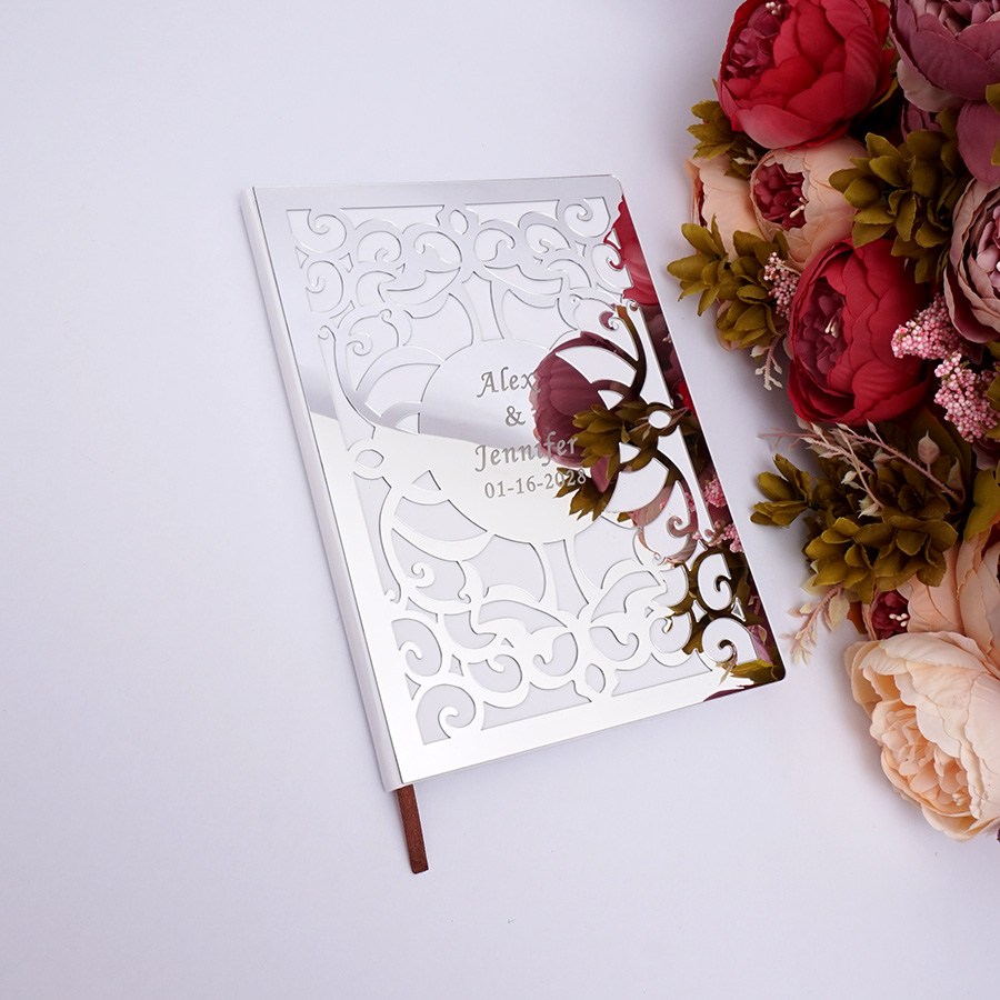 Guest Book Al Hard Covers White Empty Pages Customized Check In Party Gift Wedding Decor 26x19cm Hollow Out Art Design Signature Books From