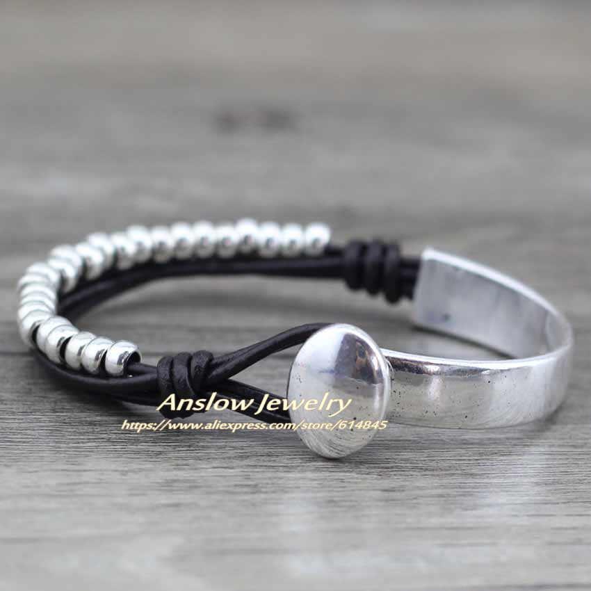 Anslow бренд 2018 новые модные ювелирные изделия унисекс для женщин и мужчин браслеты из натуральной кожи браслеты из бусин вечерние подарок LOW0472LB