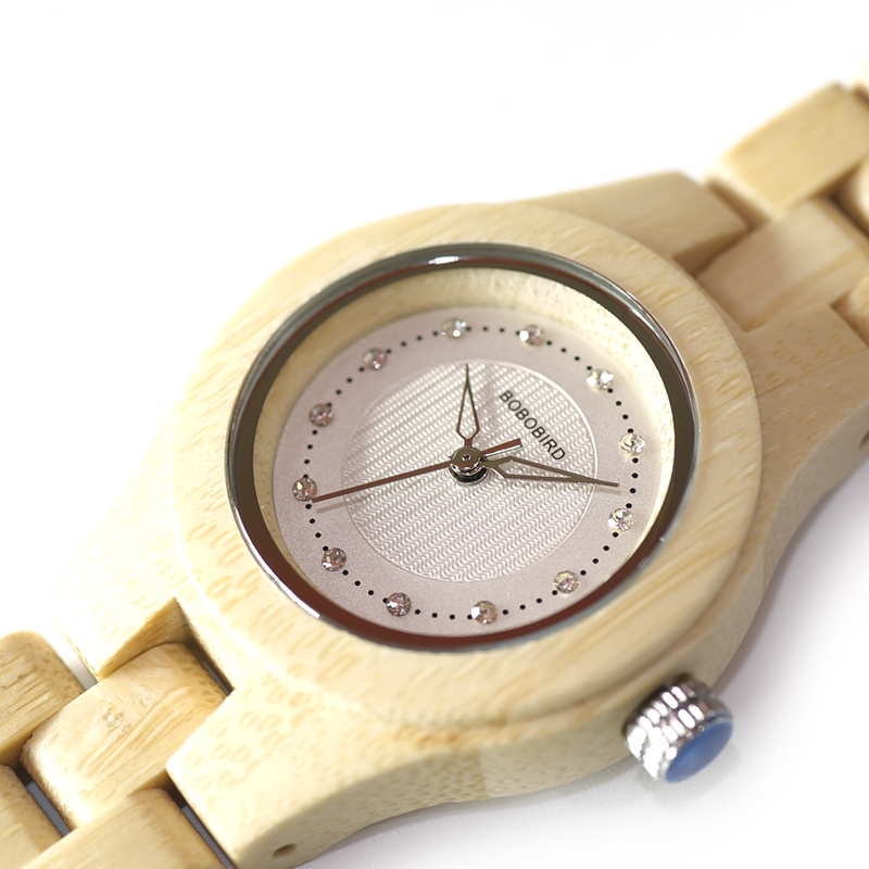Image 5 - BOBO BIRD Watch Women Bamboo Zebra Wooden Gems Imitate Luxury Brand Quartz Watches in Wood Box XFCS relogio feminino W O29watch forwatch for womenwatches quartz watche -