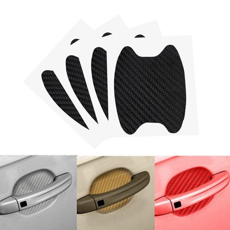 4 pièces poignée de porte de voiture Scratch protecteur couverture gardes Auto autocollant Automobile Fiber de carbone vinyle Wrap Film camion garniture extérieure